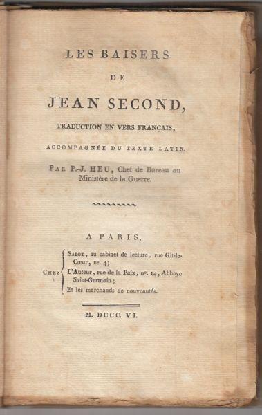 SECUNDUS, Le Baisers de Jean Second Traduction... 1806