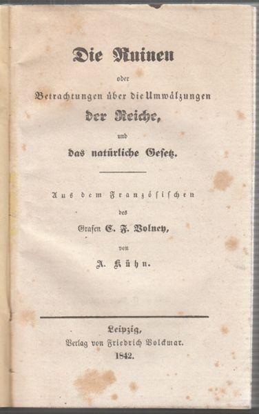 VOLNEY, Die Ruinen oder Betrachtungen über die... 1843