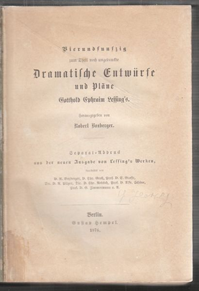 LESSING, Vierundfunfzig zum Theil noch... 1876