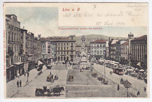 Linz a. D. Franz-Josef-Platz gegen die Brücke. 1903