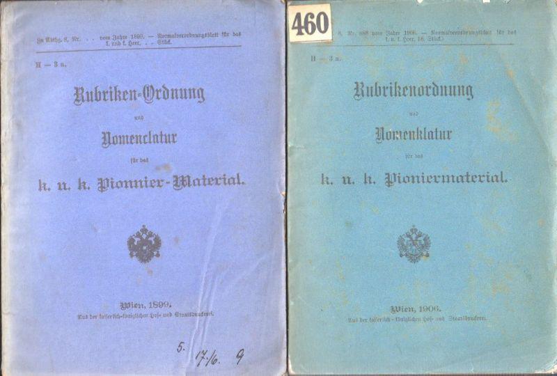 Rubriken-Ordnung und Nomenclatur für das k. u. k. Pionnier-Material.