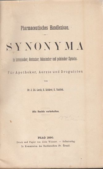 LERCH, Pharmaceutisches Handlexikon. Synonyma... 1890
