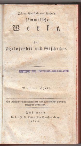HERDER, Zur Philosophie und Geschichte. Hrsg.... 1805