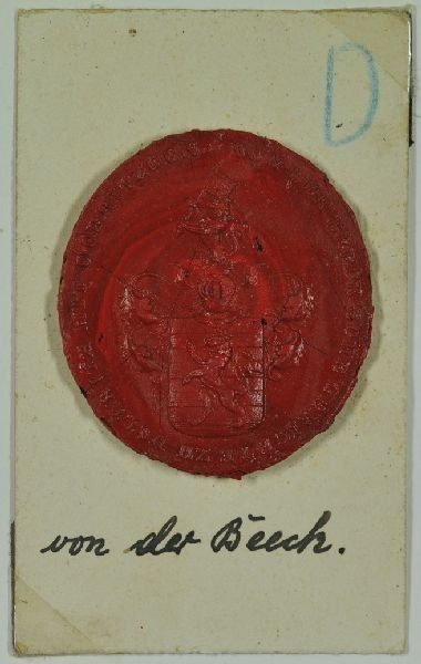 Wappensiegel mit Inschrift: VON DER BEECK'SCHE... 1890
