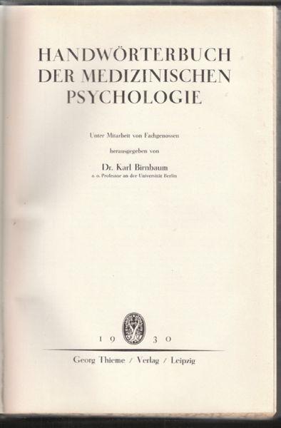 BIRNBAUM, Handwörterbuch der medizinischen... 1930