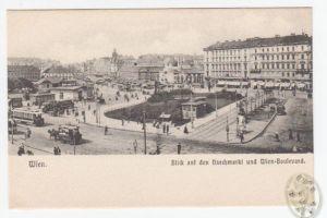 Wien. Blick auf den Naschmarkt und Wien-Boulevard.