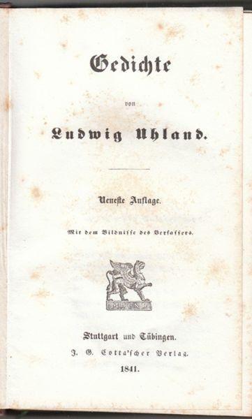 UHLAND, Gedichte. 1841