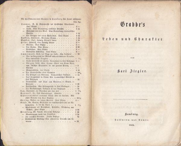 ZIEGLER, Grabbe's Leben und Charakter. 1855