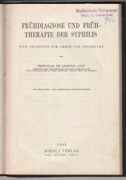 ARZT, Frühdiagnose und Frühtherapie der... 1923