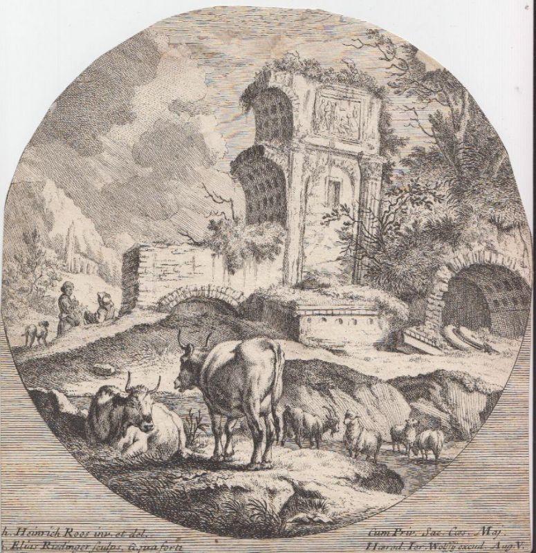 Landschaft mit antiken römischen Ruinen. Im Vordergrund befinden sich Rinder und