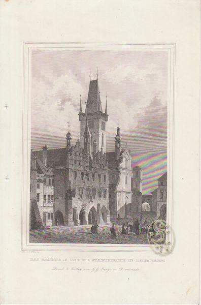 Das Rathhaus und die Stadtkirche in Leitmeritz. 1842