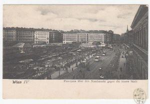 Wien IV. Panorama über den Naschmarkt gegen die innere Stadt.