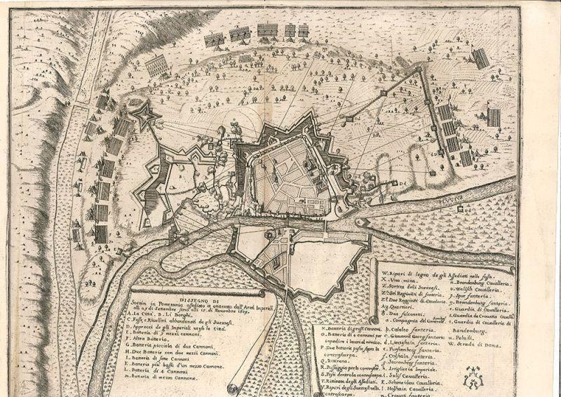 Dissegno di Stettin in Pomerania assediato e attaccato dall` Arm. Imperiali alli