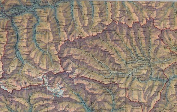 Karte der Bezirke St. Johann und Tamsweg 1900