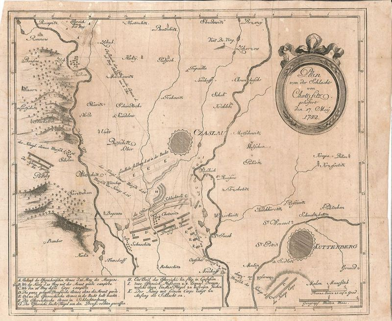 Plan von der Schlacht von Chotusitz geliefert den 17. Mai 1742.
