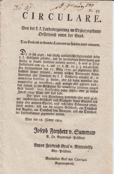 Circulare. Von der k. k. Landesregierung im... 1804 0050-11