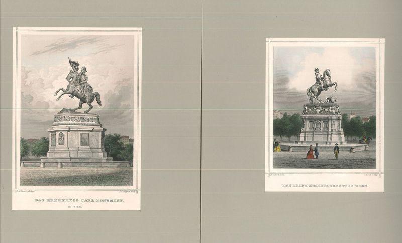 Das Prinz Eugenmonument in Wien. / Das Erzherzog Carl Monument in Wien.