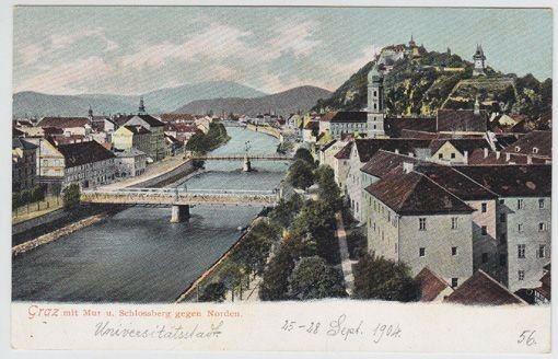 Graz mit Mur u. Schlossberg gegen Norden. 1890