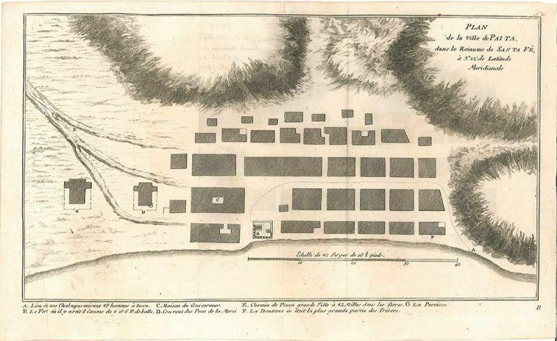 Plan de la Ville de Paita dans le Roiaume de Santa Fé, à 5. 12` de Latitude Meri