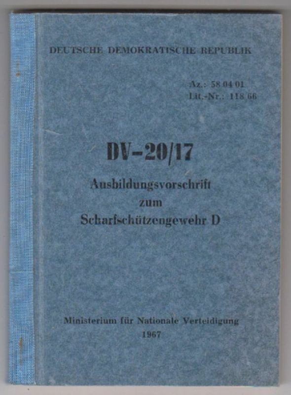 DV-20/17 Ausbildungsvorschrift zum Scharfschützengewehr D.
