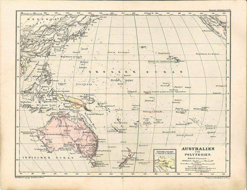 Australien und Polynesien. Maßstab 1: 50,000,000. Kozenn`s Schulatlas No. 34.