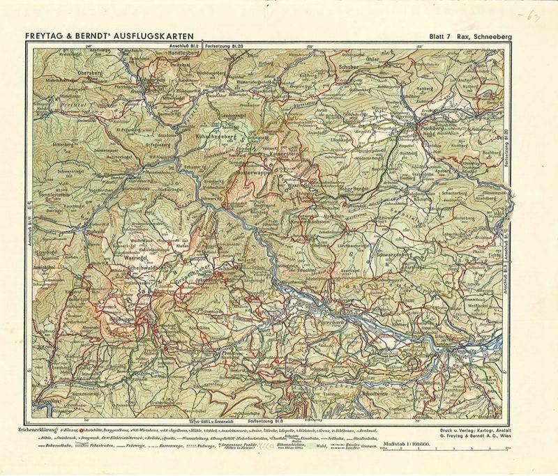 Freytag-Berndt Ausflugskarten. Blatt 7. Rax, Schneeberg
