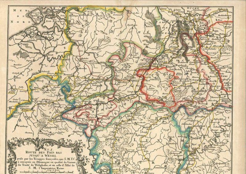 Route des Pais Bas jusqu`à Wesel prise par les trouppes françoises, que S. M. T. 0