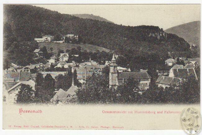 Herrenalb. Gesammtansicht mit Hummelsburg und Falkenstein.