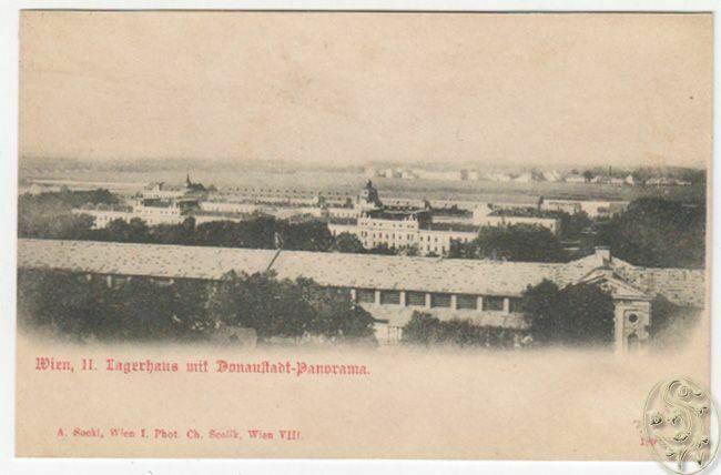 Wien, II. Lagerhaus mit Donaustadt-Panorama.