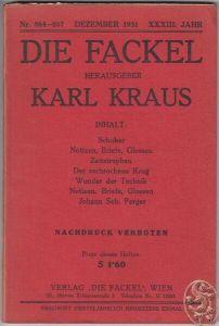 DIE FACKEL. Hrsg. Karl Kraus. 1931