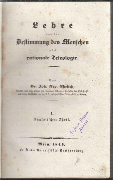 EHRLICH, Lehre von der Bestimmung des Menschen... 1842