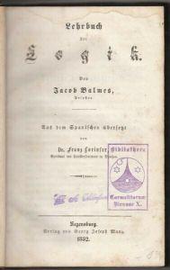 BALMES, Elemente der Philosophie. Aus dem... 1852
