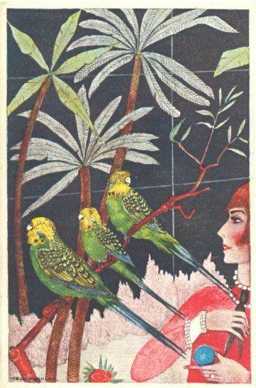 [Sittiche und rote Frau/Parakeet and Deco woman]. B. K. W. I. 477-3 KOEHLER, Mel