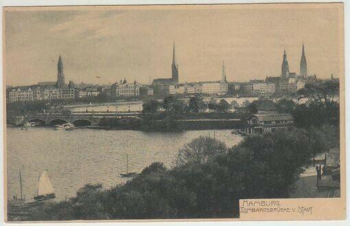Hamburg. Lombardsbrücke u. Stadt. 1910