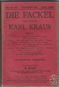 DIE FACKEL. Hrsg. Karl Kraus. 1924