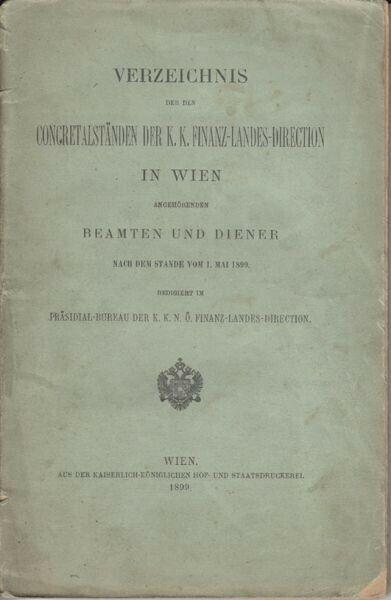 Verzeichnis der den Concretalständen der k. k.... 1899