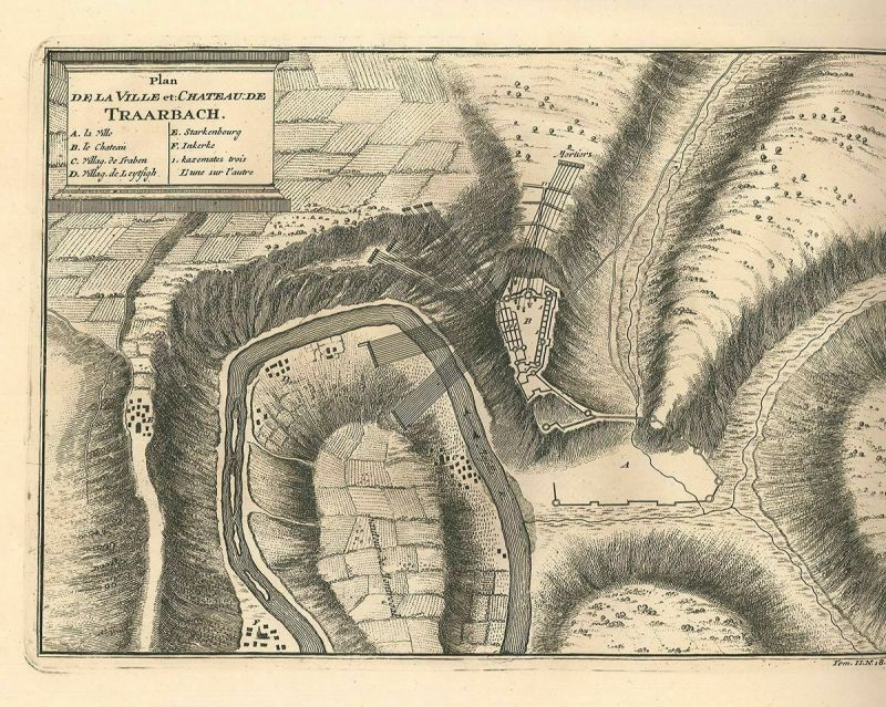 Plan de la Ville et Chateau de Traarbach.