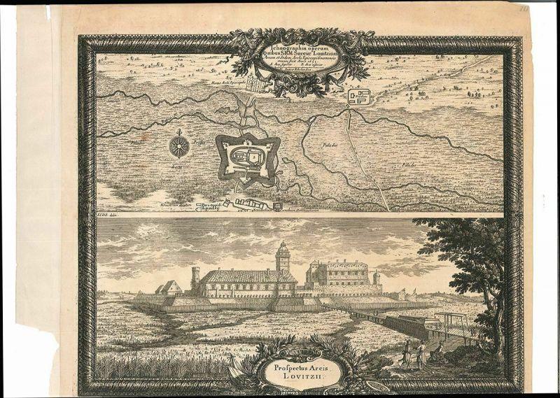 Ichnographia operum Quibus S.R.M. Sueciae Lovitzium. Arcem et Sedem. Archi Episc