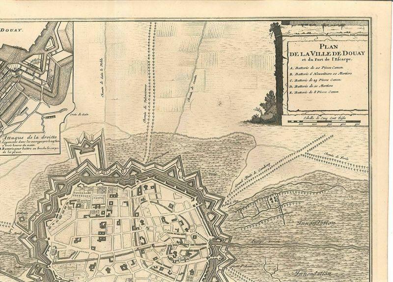 Plan de la Ville de Douay et du Fort de l`Escarpe.