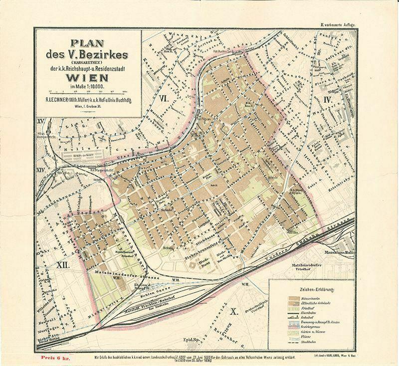Plan des V. Bezirkes (Margarethen) der k.k. Reichshaup- u. Residenzstadt Wien im