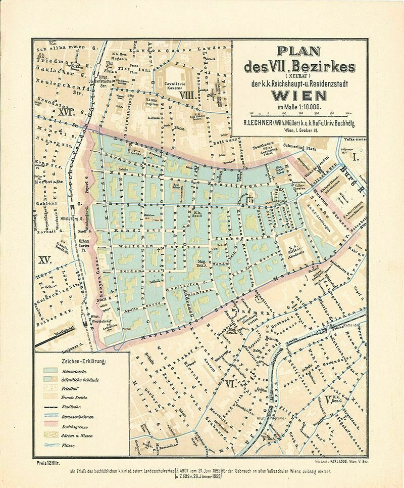 Plan des VII. Bezirkes (Neubau) der k.k. Reichshaupt- und Residenzstadt Wien im