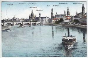 Dresden. Friedrich August-Brücke. Frauenkirche.... 1900 1956-11