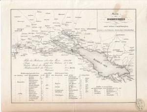 Karte des Bodensees und seiner Umgebungen.