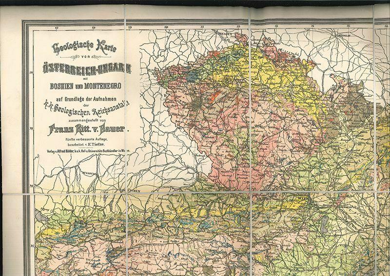 Geologische Karte von Österreich-Ungarn mit Bosnien und Montenegro. HAUER, Franz 1