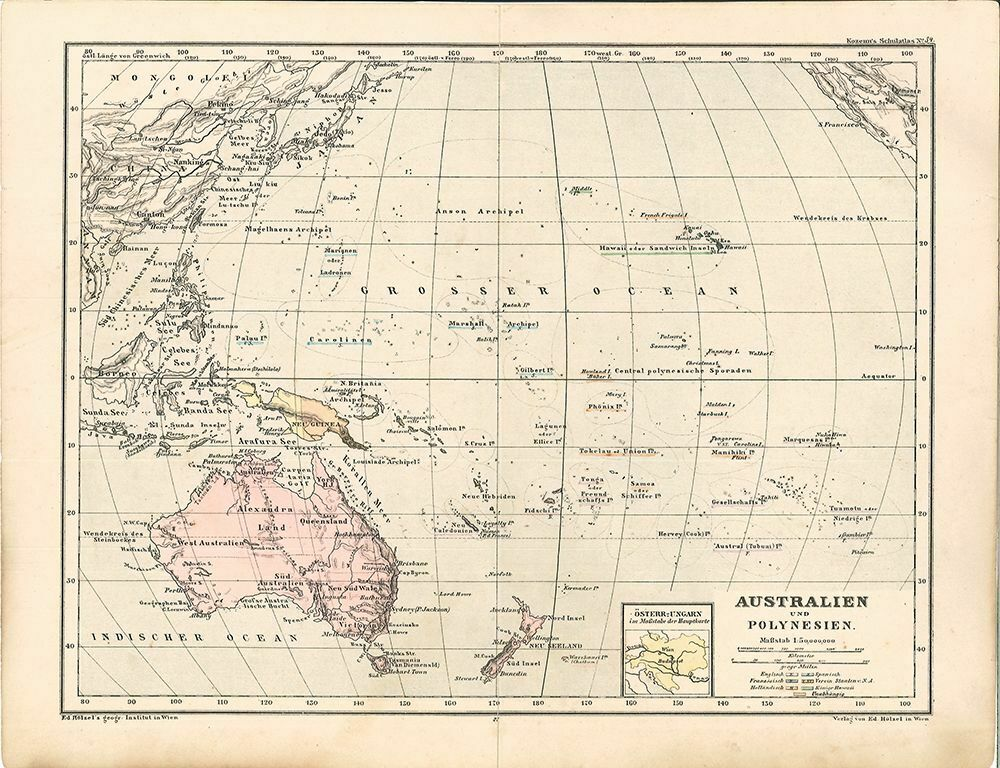 Australien und Polynesien. Maßstab 1: 50,000,000. Kozenn`s Schulatlas No. 34. 0