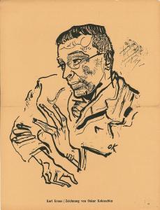 Karl Kraus / Zeichnung von Oskar Kokoschka. KOKOSCHKA, Oskar.