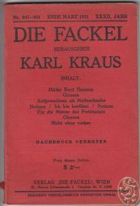 DIE FACKEL. Hrsg. Karl Kraus. 1931 0671-04