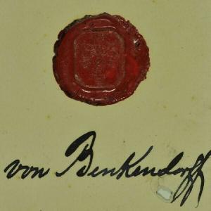 Wappensiegel des Hauses Benkendorff. Wappen:... 1700