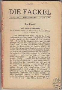 DIE FACKEL. Hrsg. Karl Kraus. 1926