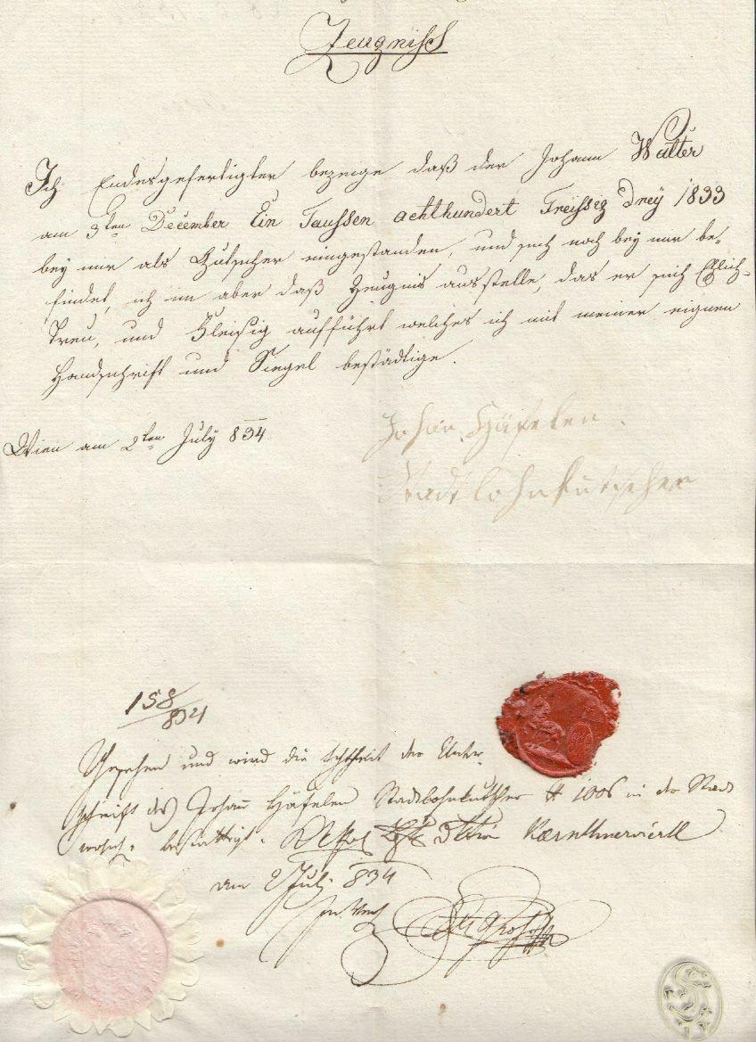 Zeugnis. (...) für Johann Walter am 9. December 1833 als Kutscher. 0